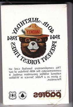 1984 SAN DIEGO PADRES PREVENT FOREST FIRES BASEBALL CARD SET