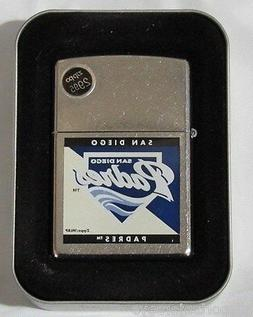 MLB NIB ZIPPO LIGHTER W/GIFT BOX - SAN DIEGO PADRES - SPLIT