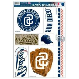 """MLB SAN DIEGO PADRES 11"""" X 17"""" DECALS 7 ON SHEET REMOVABLE R"""