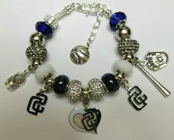 MLB SAN DIEGO PADRES Crystal European Team Charm Bracelet