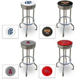 MLB Team Logo Man Cave Retro Backless Swivel Seat Bar Stool