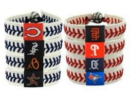 MLB Teams Leather Baseball Seam Bracelet Wristband NEW Red o