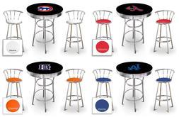 MLB Black Bar Table Set Chrome Swivel Backrest Stools Colore