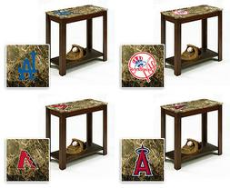 End Table MLB Wood Nightstand Faux Marble Cappuccino Espress