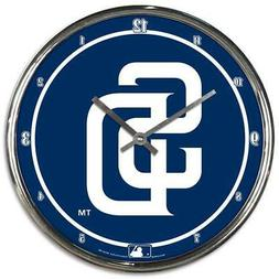 San Diego Padres Chrome Round Wall Clock  MLB Sign Banner Of