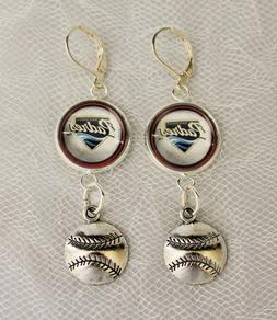 San Diego Padres Earrings w/Baseball Charm Upcycled from Bas