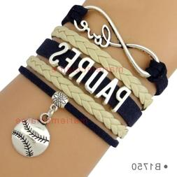 San Diego Padres Leather Baseball Bracelet Charm Infinity  Q