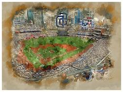 San Diego Padres Poster Watercolor Art Print Man Cave Decor