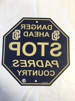 "San Diego Padres Stop Sign Room Bar Decor NEW 12"" x 12"""