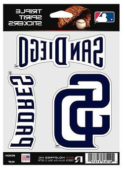 San Diego Padres Triple Sticker Multi Decal Spirit Sheet Aut