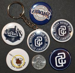 """Set of 5 1 1/2"""" Pinback Buttons San Diego PADRES + Key Chain"""
